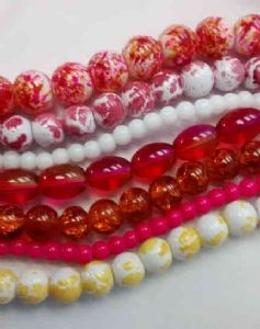 Orange and Pink Splash Bead Strings